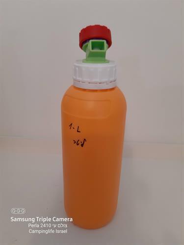 מיכל 1 ליטר בקבוק מתאים למים לשתיה לשמן זית חומץ ועוד  צבע כתום  עם ברז