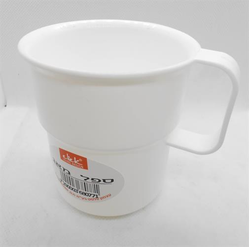 כוס מאג צבע לבן קמפינג שטח פלסטיק קשיח רב פעמי ניתן לרחוץ ולהשתמש בלי הגבלה