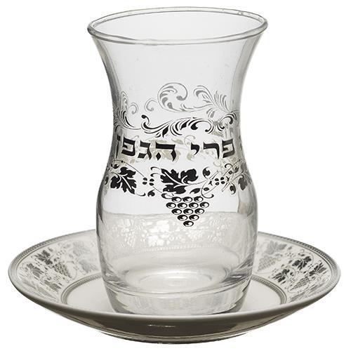 """גביע קידוש זכוכית עם תחתית קרמיקה והדפסה 10 ס""""מ"""