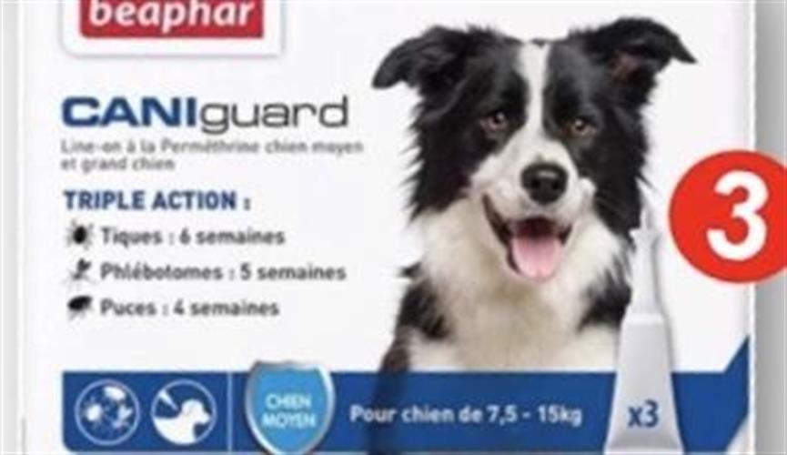 (Cani guard (m. אמפולות לטיפול בפרעושים וקרציות  לכלב לגזע בינוני 7-15 קג