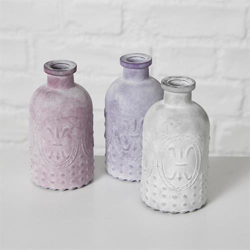 בקבוקי זכוכית פרוסט בגווני סגול/לבן