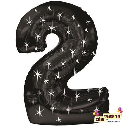 בלון 34 אינץ' 2 שחור כוכבים (ללא הליום)