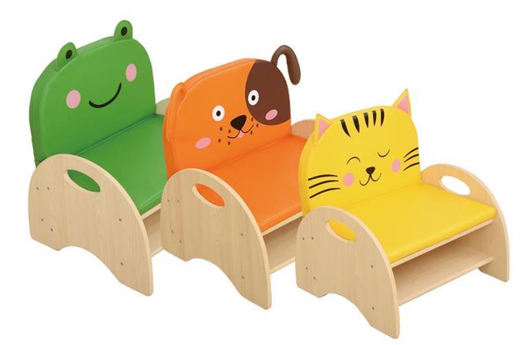 כורסאות עץ סנדוויץ יחיד דגם חיות מרופדות + אסחון