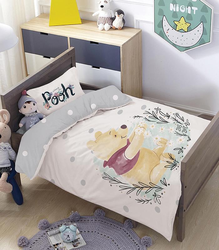 מותגים למיטת מעבר \ תינוק - פו גריי 100% כותנה