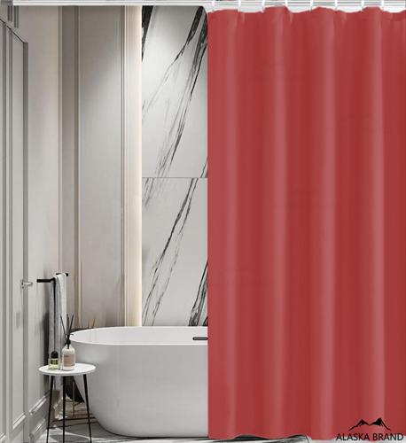 וילון אמבטיה איכותי בגוון חלק במבחר מידות צבע - בורדו אדום