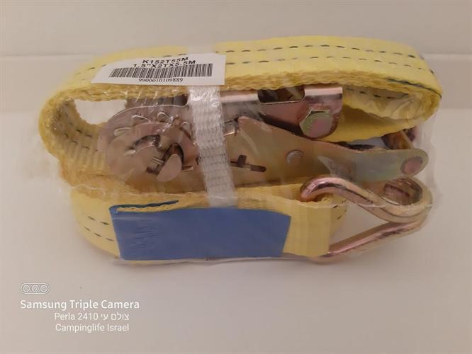 רצועת קשירה רצ'ט  למטען כבד 1.5 טון סט באורך 5.5  מטר  צבע צהוב