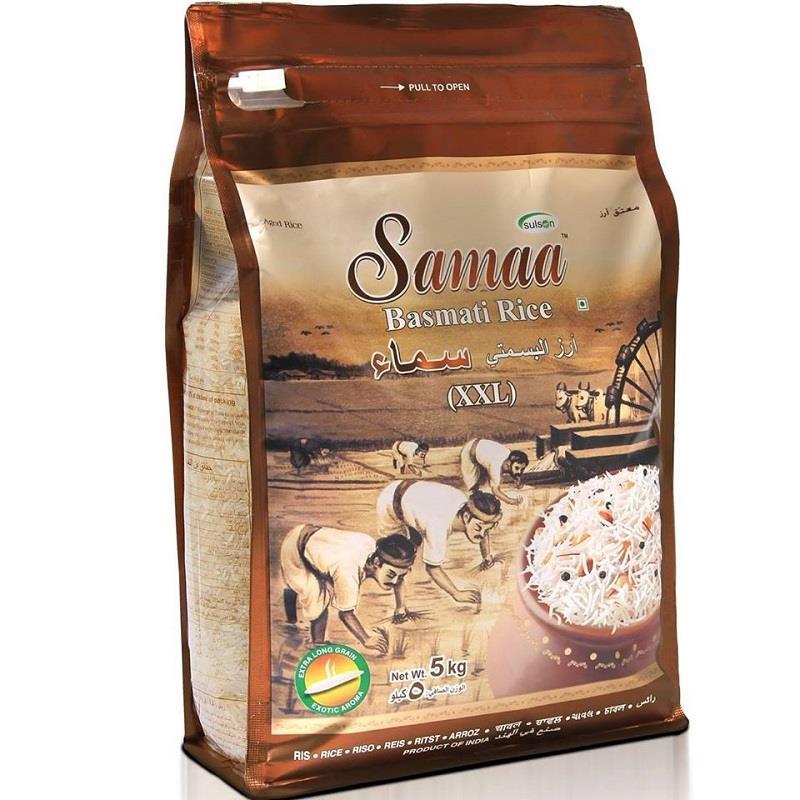 """אורז בסמטי סמאא 5ק""""ג.  XXL  שקית חום"""