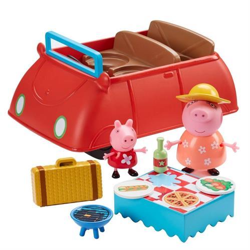 סט משחק מכונית אדומה גדולה של פפה