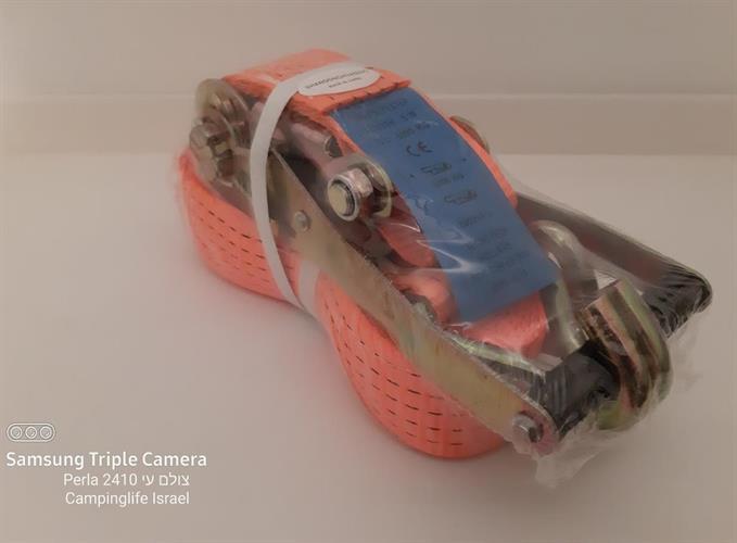 רצועת קשירה למטען כבד 5 טון סט מותחן עם רצועה 5 מטר  צבע כתום 10 טון בקשירת חגורה