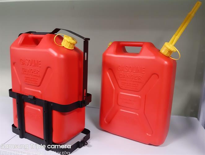 מתקן תליה לג'ריקן   מיכל דלק אליהו  פלסטיק נפח 20 ליטר צבע אדום