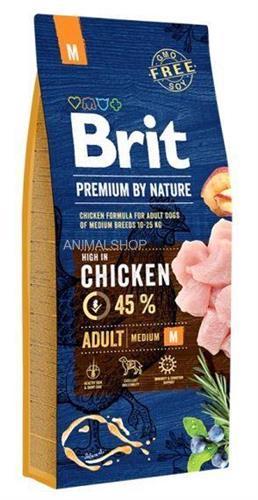 """8595602526376 מזון יבש לכלבים בוגרים מגזע בינוני 15 ק""""ג Brit"""