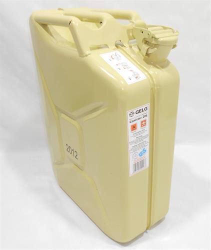מיכל ג'ריקן דלק 20 ליטר צבע קרם  צבאי צ של צהל עודפי ייצור חדשים לצבא כולל משפך צבע ירוק זית