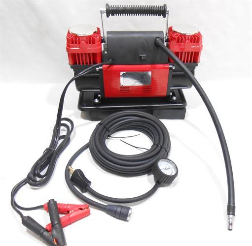 קומפרסור  מדחס אוויר לגלגלי הרכב מקצועי 2 בוכנות צבע אדום