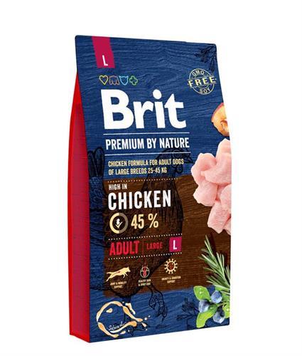 """8594031449409 מזון יבש לכלבים בוגרים מגזע גדול עוף 15 ק""""ג Brit"""
