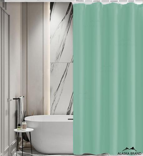 וילון אמבטיה איכותי בגוון חלק במבחר מידות צבע - מנטה