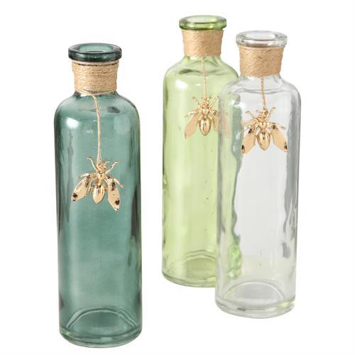 בקבוק זכוכית בעיטור דבורה