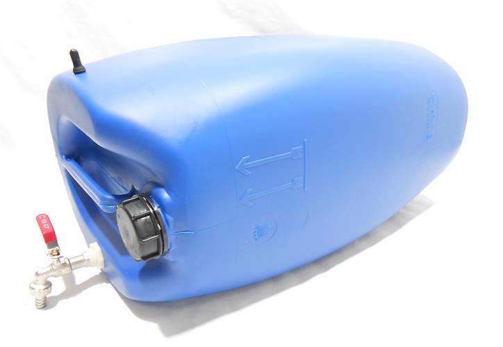 מיכל עם ברז למים ג'ריקן 60 ליטר צבע כחול פקק שחור כולל נשם לשכיבה או עמידה