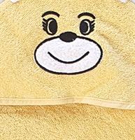 מגבת קפוצ'ון לתינוק עם רקמת ארנבון צבע צהוב