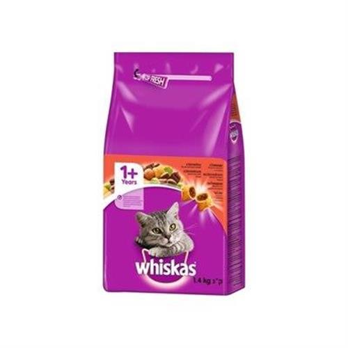 """מזון יבש לחתולים בוגרים בקר 1.4 ק""""ג Whiskas"""