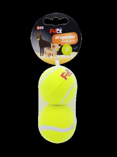 זוג כדורי טניס מצפצים לכלב במארז רשת