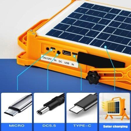 פרוז'קטור סולארי עוצמתי 150W לקמפינג - נייד