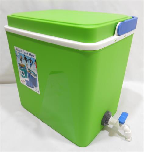 צידנית עם ברז  32 ליטר שהיא גם מיכל מים או שתיה לכל דבר צבע ירוק ברז לבן