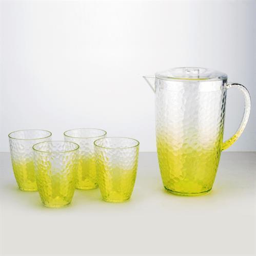 סט קנקן מעוצב וארבע כוסות לשתיה קלה