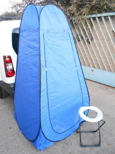 סט נוחות לשטח  אוהל כחול עם  אסלה לבנה  POP UP