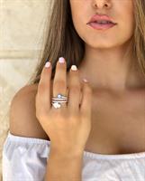 טבעת כסף סליל עין וחמסה- כסף אמיתי