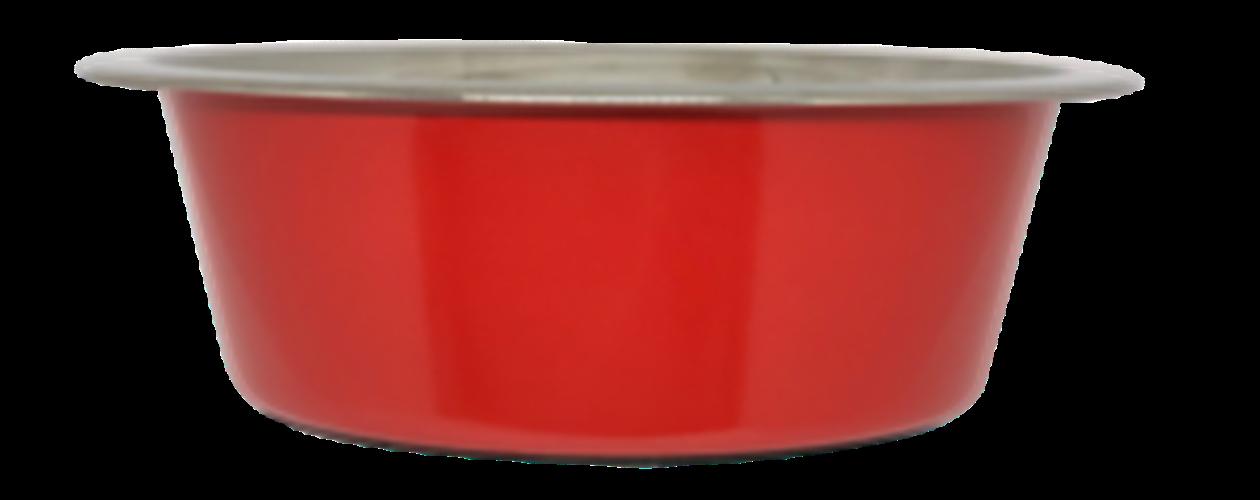 קערת מזון נירוסטה אדום עם גומי בתחתית למניעת החלקה 0.90 ליטר
