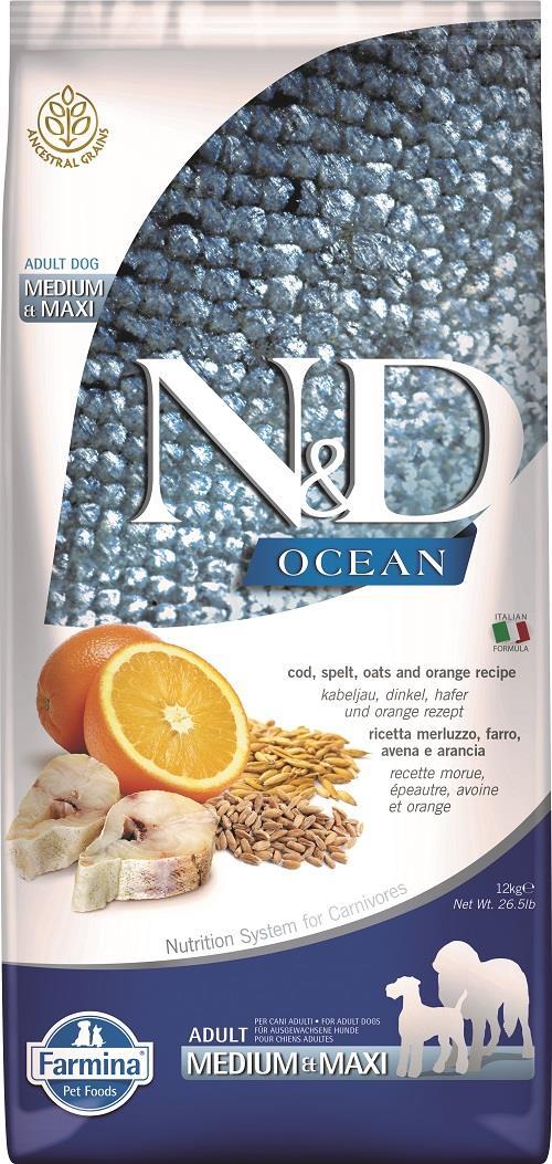 "N&D OCEAN – דג קוד, דגנים קדמונים (כוסמין ושיבולת שועל) ותפוז 12 ק""ג"