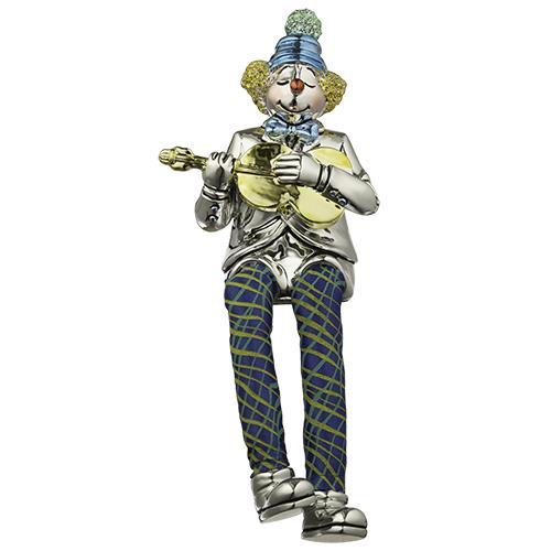 """ליצן יושב מפוליריזן מוכסף עם רגלי בד מנגן בגיטרה 25 ס""""מ"""