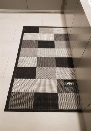 שטיח  מטבח שחור אפור  חבל