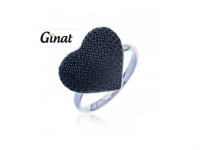 טבעת לב גדול בשיבוץ שחור