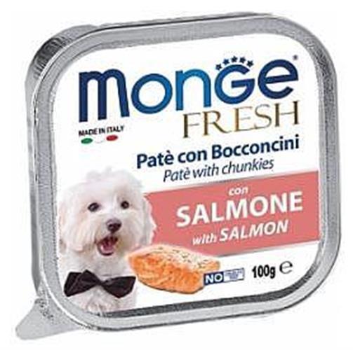 מעדן לכלבים MONGE פרש פטה עם סלמון 100 גר'