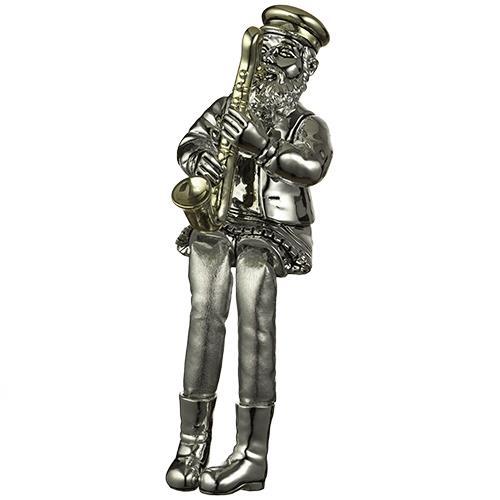 """חסיד יושב מפולירייזן מוכסף עם רגלי בד כסף מנגן בסקסופון 25 ס""""מ"""