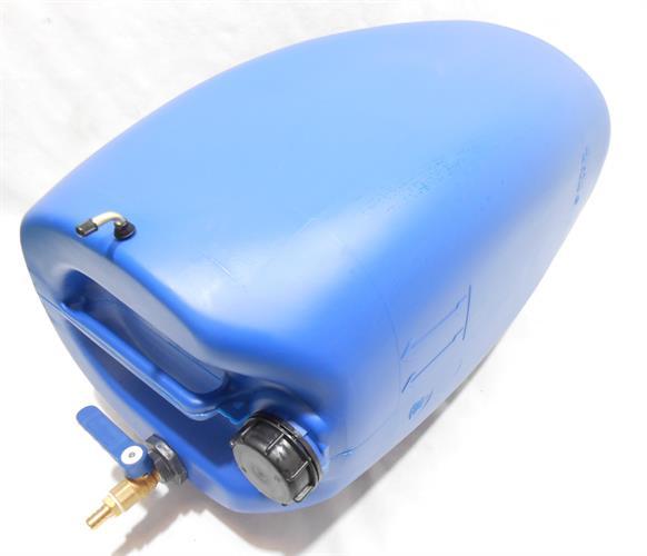 מיכל מים עם ברז  ישר  ג'ריקן 60 ליטר צבע כחול  כולל נשם  - שימוש במאוזן - שכיבה