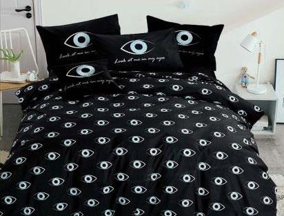 מצעים למיטה זוגית כותנה פרקל  - גוליאן דגם Blue eyes שחור