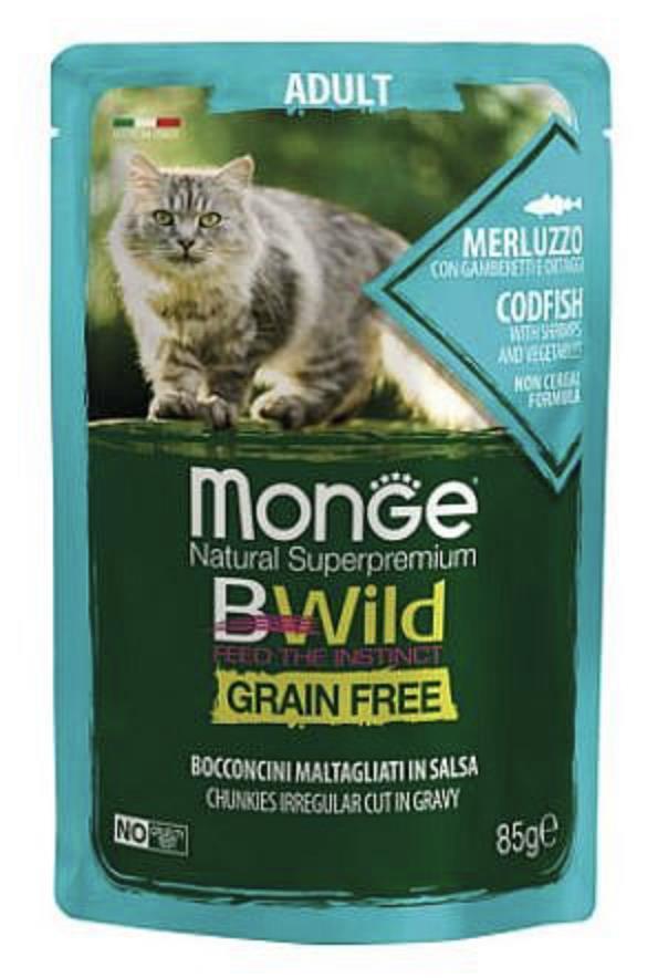 MONGE BWILD Grain Free מזון רטוב 85 גר' לחתול מעוקר בטעם אנשובי וירקות