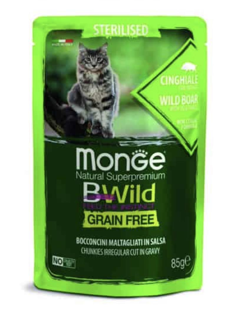 MONGE BWILD Grain Free מזון רטוב 85 גר' לחתול מעוקר בטעם חזיר וירקות