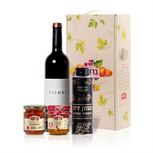 מארז שמן זית, יין, דבש וקונפיטורה