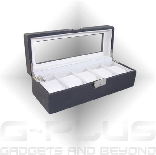 קופסה מהודרת מעץ בגימור דמוי עור 5 מקומות לשעונים