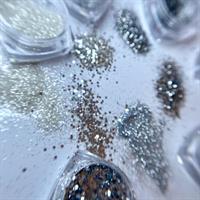 מארז 6 אבקות נצנצים גרוסות בגוון כסוף-הולוגרפי