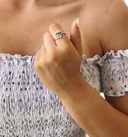 טבעת עין ריסים מתכווננת -ציפוי כסף אמיתי