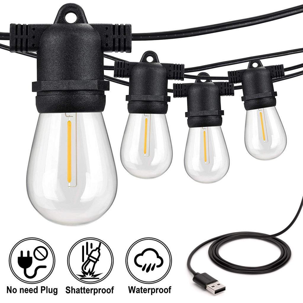 גרילנדה USB - אורך 8 מטר 12 מנורות + נורה ספייר