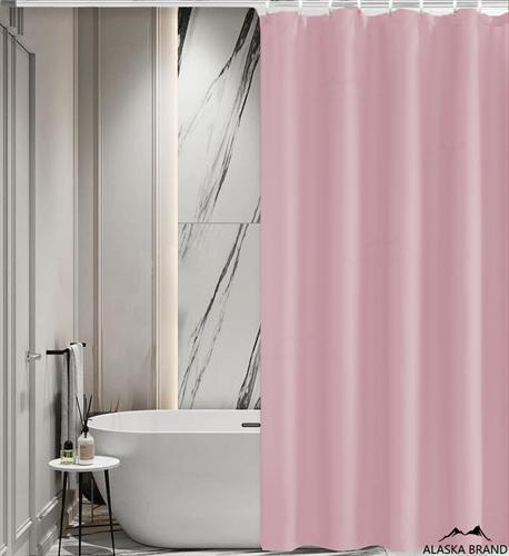 וילון אמבטיה איכותי בגוון חלק במבחר מידות צבע - ורוד