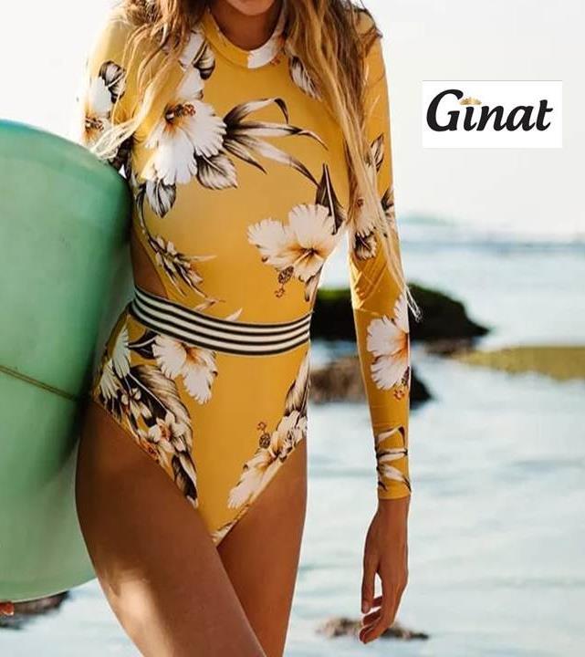 בגד-ים צהוב פרחים שלם שרוול ארוך גב פתוח