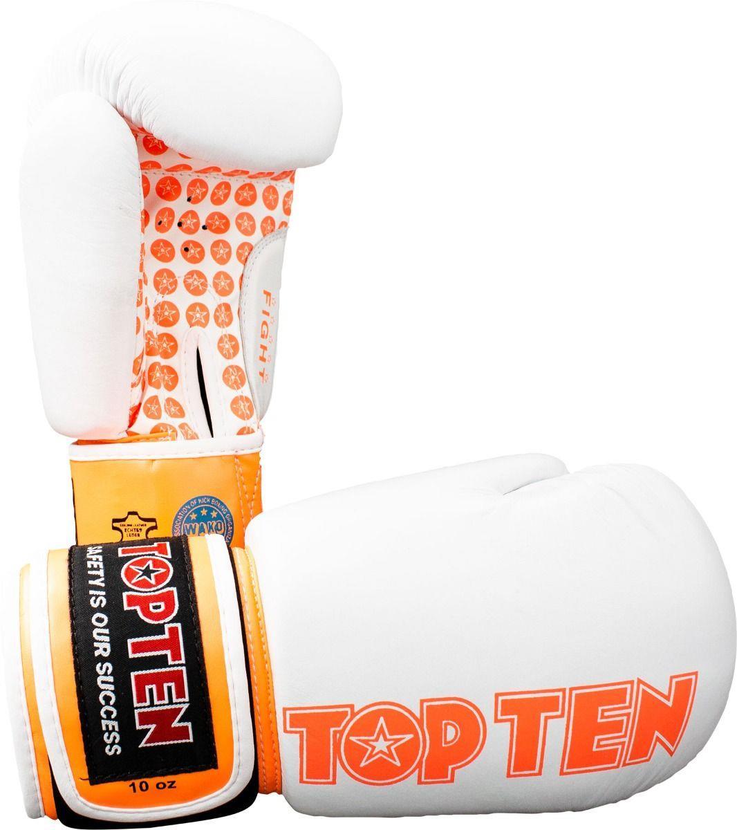 כפפות אגרוף עור TOP TEN Fight New 10 oz צבע לבן/כתום