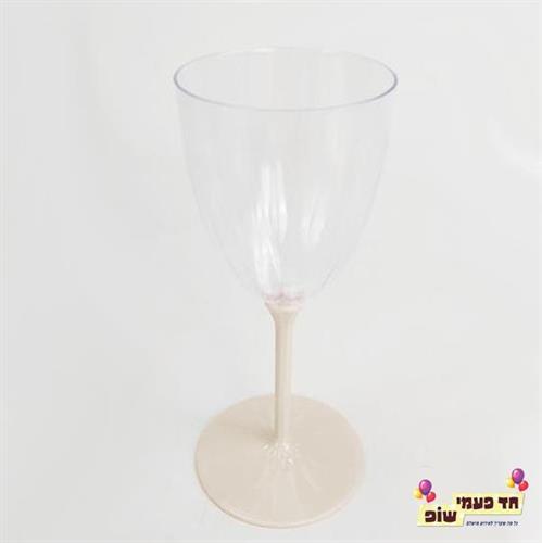 כוסות יין רגל קרם