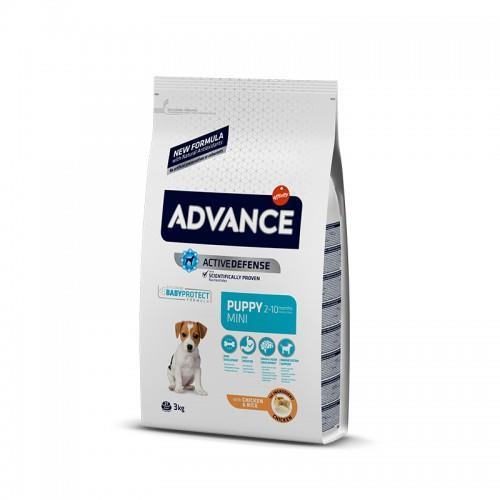 """8410650150130 מזון יבש לגורי כלבים מגזע קטן מבוסס עוף ואורז 3 ק""""ג Advance"""